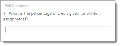 text field to enter poll answer