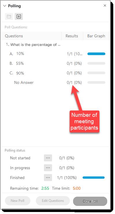 Polling responses screen