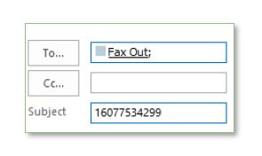 screenshot of to box filled in with fax out and subject filled in with phone number