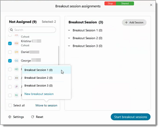 Breakout session dialog box