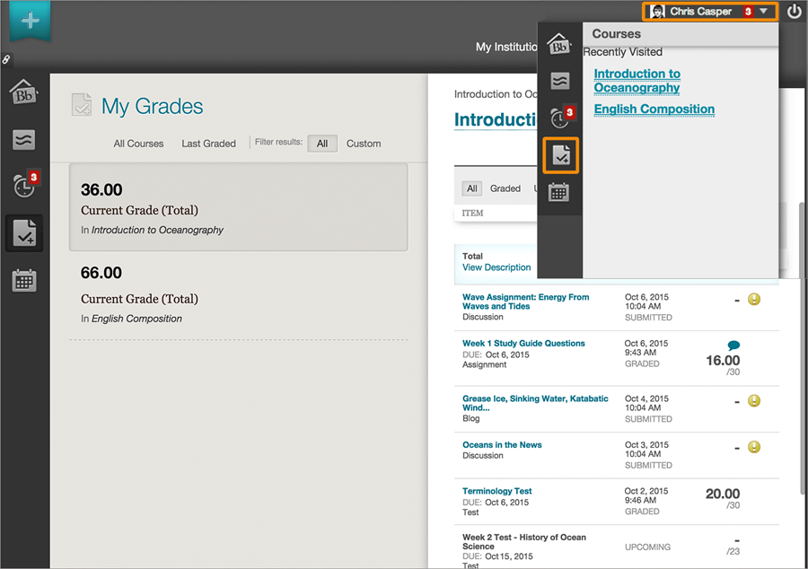 Global Navigation Menu in Blackboard learn.