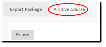 Screen shot of Export/Archive Course section of page. Archive Course circled in red.