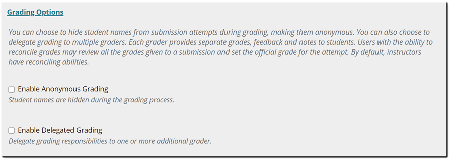 Grading Options panel expanded.