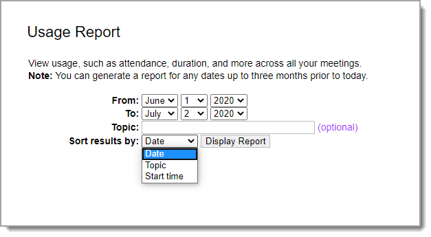 Usage Report parameters