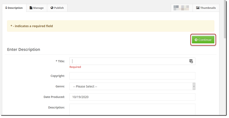 description tab of video upload.
