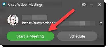 Start a Meeting button Webex app