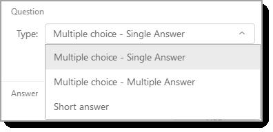 Question type dropdown