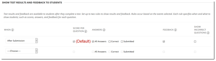 Default settings.