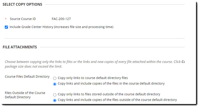 Select Copy Options and File Attachments section of the Archive page.