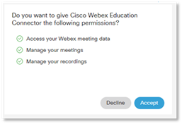 Webex Education Connector prompts for Blackboard.