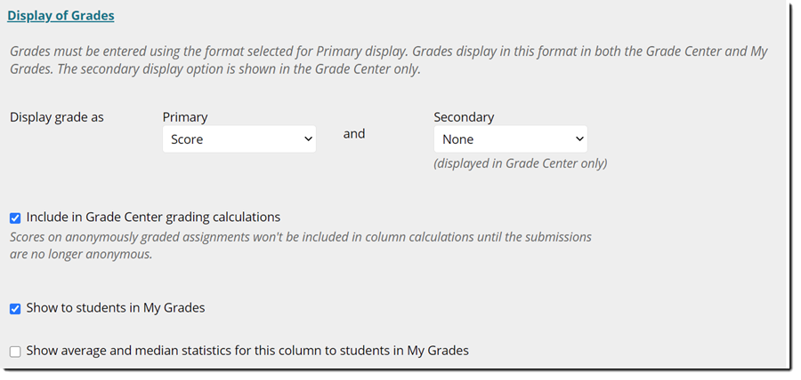Display of Grades panel expanded.