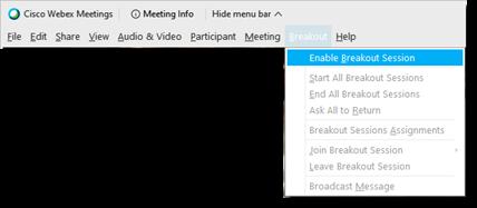 Enable breakout session button