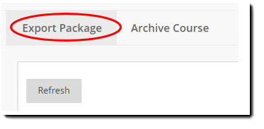 Screen shot of Export/Archive Course section of page. Export Package circled in red.