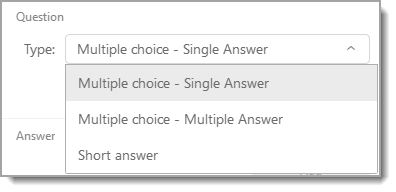 Polling panel question type dropdown